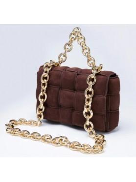Accessoires pour femme sac à main tressé matelassé avec lanières en chaines en daim choco grand format