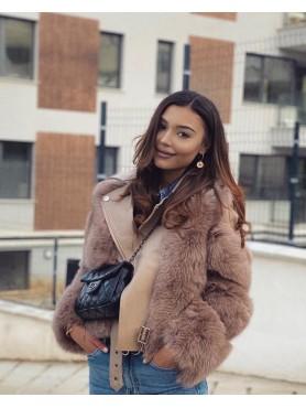 Accueil MANTEAU FEMME VESTE CUIR PERFECTO FOURRURE RENARD CAMEL PREMIUM -- HouseOfPeople.fr