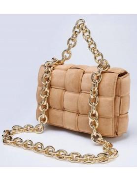 Accessoires pour femme sac à main tressé matelassé avec lanières en chaines en daim nude beige CAMEL grand format