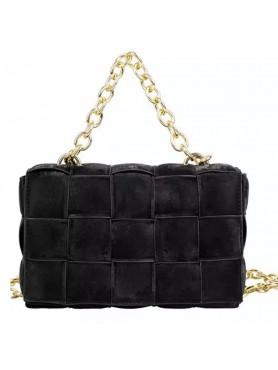 Accueil Accessoires pour femme sac à main en nubuck tressé matelassé avec lanières en chaines noir moyen format -- HouseOfPeo...