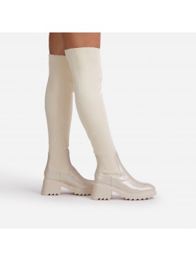 Chaussures femme bottes cuissardes chaussettes nude beige