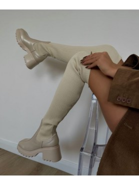 Accueil Chaussures femme bottes cuissardes chaussettes nude beige -- HouseOfPeople.fr