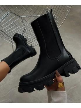 Accueil Chaussures femme bottines chelsea semelle crampon platform noir faux cuir -- HouseOfPeople.fr