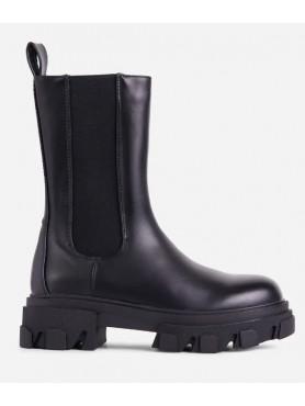 Chaussures femme bottines chelsea semelle crampon platform noir faux cuir