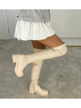 Accueil Chaussures femme bottes hautes cuissardes faux cuir vegan beige -- HouseOfPeople.fr
