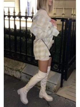 Chaussures femme bottes hautes cuissardes faux cuir vegan beige
