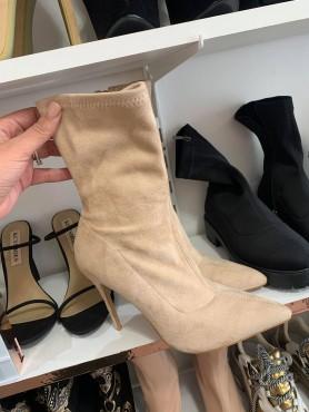 Accueil Chaussures femme bottes bottines en suedine faux daim nude beige -- HouseOfPeople.fr
