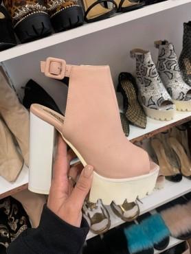 Chaussures platform rose blush poudrée talon haut chuncky