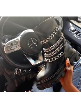 CHAUSSURES Chaussures femme bottes bottines faux cuir chaines épaisses -- HouseOfPeople.fr