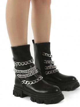 Chaussures femme bottes bottines faux cuir chaines épaisses