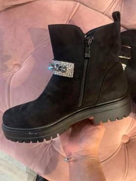 Chaussures bottes bottines bijoux noir strass taille 39