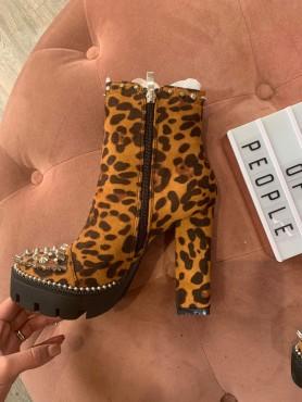 Chaussures femme bottines platform leopard talon haut cloutées destockage taille 37
