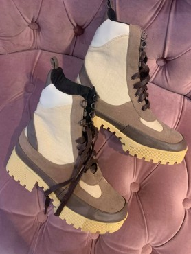 Chaussures femme bottes bottines combat boots becolor choco marron nude taille 40