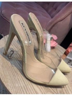 Chaussures femme escarpins talons hauts nude et plexis destockage taille 37