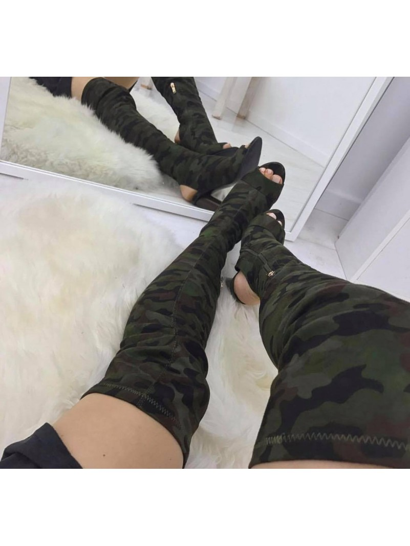 Accueil Chaussures pour femmes bottes cuissardes camouflage talon epais en bois taille 37 -- HouseOfPeople.fr