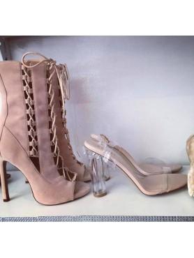 Accueil Chaussures femme bottines à lacets beige nude destockage taille 39 -- HouseOfPeople.fr