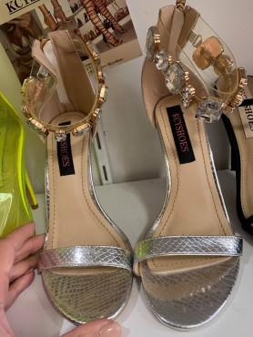 Chaussures femme sandales bijoux argent talon haut taille 37