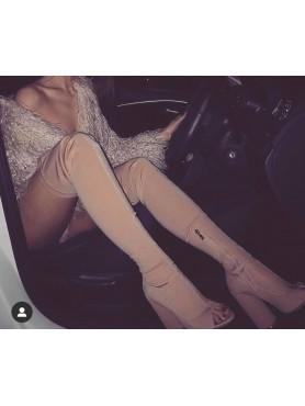 Accueil Chaussures femme bottes cuissardes nude beige lycra amel bent destockage taille 36 -- HouseOfPeople.fr