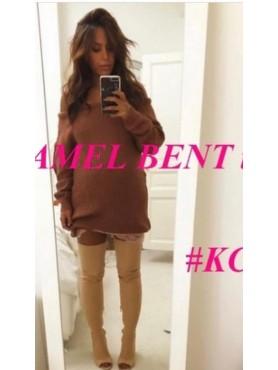 Chaussures femme bottes cuissardes nude beige lycra amel bent destockage taille 36