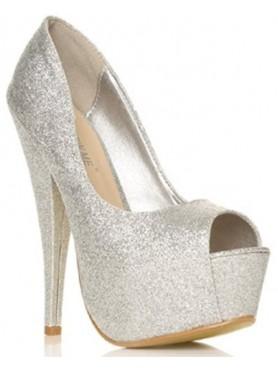 Accueil Chaussures pour femme talon haut platform argent paillettes à bout ouvert destockage en taille 40 -- HouseOfPeople.fr