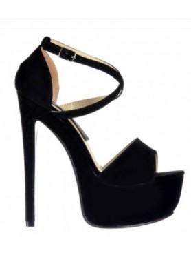 Sandales à platforms noir croisées