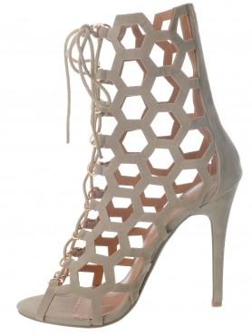 Sandales cage à lacet nude