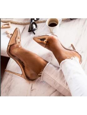 copy of Chaussures pour femme escarpin en plexis transparent or rose destockage en taille taille 36