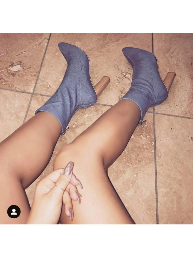 Accueil Chaussures femme bottes bottines denim talon epais en bois destockage taille -- HouseOfPeople.fr