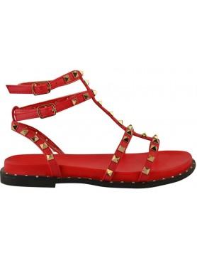 Sandales cloutées rouge