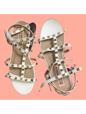 Sandales STELLA blanc clous or