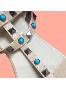 Sandales ALICE beige pierre turquoise