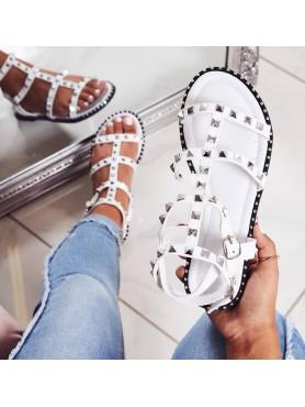 Sandales SELENA blanc clous...