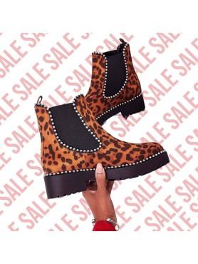 Bottines leopard foncé