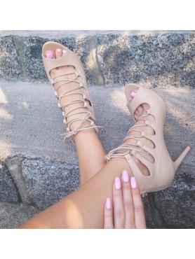 Sandales nude à lacets