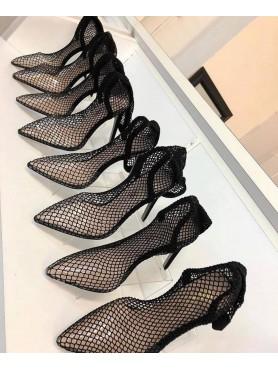 copy of Escarpin résille talon haut chaussures femme destockage taille 36