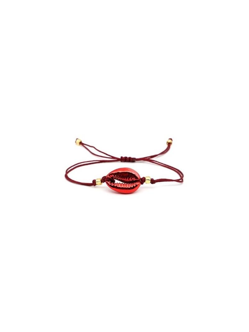 Accueil Bracelet coquillage SINGLE ROUGE METALLIQUE -- HouseOfPeople.fr