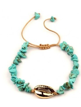 Accueil BRACELET PERLES AQUA TURQUOISE COQUILLAGE OR -- HouseOfPeople.fr