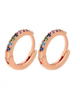 Accueil Boucle d'oreille anneau OR rose multicolor -- HouseOfPeople.fr