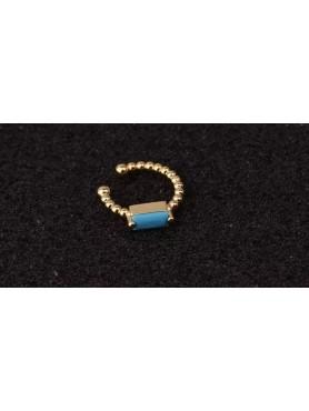 Bague d'oreille anneau or et pierre turquoise