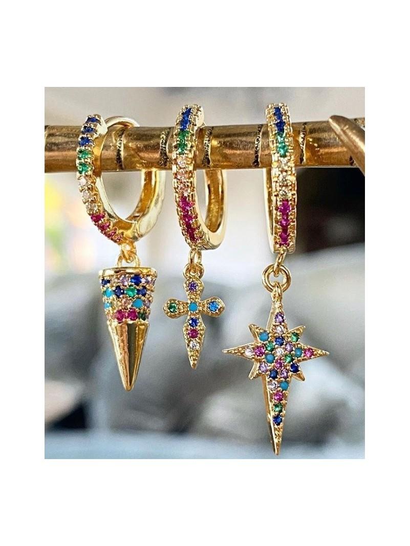 Accueil Boucle d'oreille étoile pendante or multicolore -- HouseOfPeople.fr