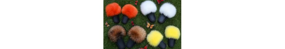 Claquette chaussures en fourrure super tendance renard ou vison